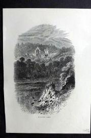 Picturesque Europe 1870s Antique Print. Dryburgh Abbey, Scotland